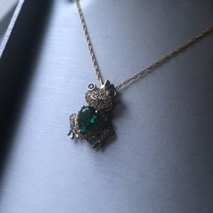 Emerald/White Gold Frog Prince with 14K Gold Plate